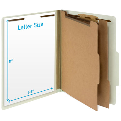 Classification Folders with 2 Dividers, Letter Size, Gray/Green, 10 Count