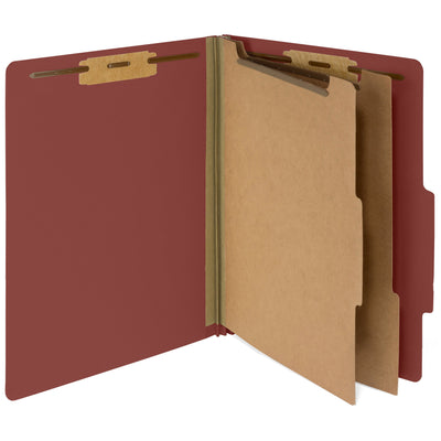 Classification Folders with 2 Dividers, Letter Size, Red, 10 Count Folders Blue Summit Supplies