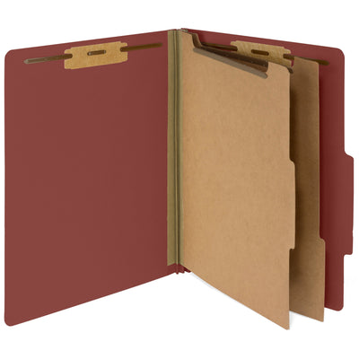 Classification Folders with 2 Dividers, Letter Size, Red, 30 Count