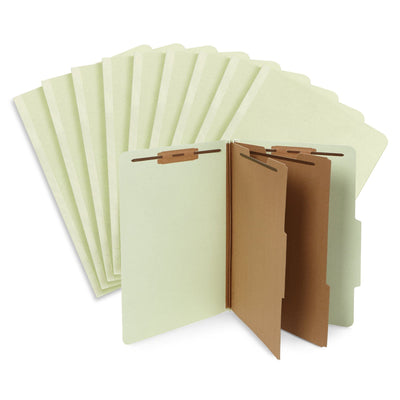Classification Folders with 2 Dividers, Legal Size, Gray/Green, 30 Count Folders Blue Summit Supplies