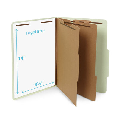 Classification Folders with 2 Dividers, Legal Size, Gray/Green, 30 Count