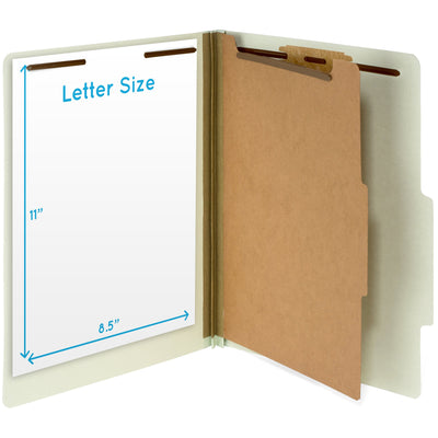 Classification Folders with 1 Divider, Letter Size, Gray/Green, 10 Count Folders Blue Summit Supplies
