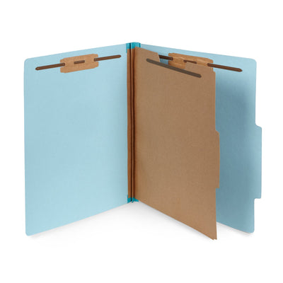 Classification Folders with 1 Divider, Light Blue, 30 Count Folders Blue Summit Supplies