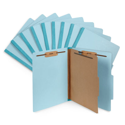 Classification Folders with 1 Divider, Letter Size, Light Blue, 10 Count Folders Blue Summit Supplies