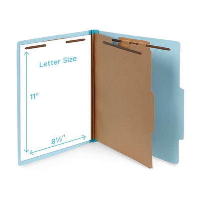 Classification Folders with 1 Divider, Light Blue, 10 Count