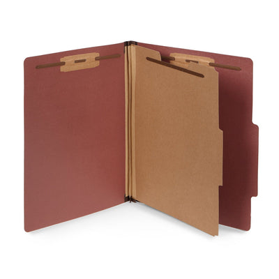 Classification Folders with 1 Divider, Letter Size, Red, 30 Count