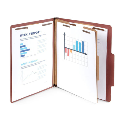 Classification Folders with 1 Divider, Letter Size, Red, 10 Count Folders Blue Summit Supplies