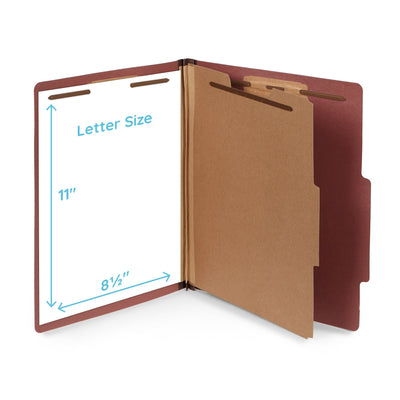 Classification Folders with 1 Divider, Letter Size, Red, 10 Count
