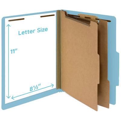 Classification Folders with 2 Dividers, Light Blue, 10 Pack