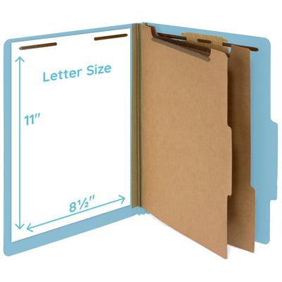 Classification Folders with 2 Dividers, Light Blue, 30 Pack Folders Blue Summit Supplies