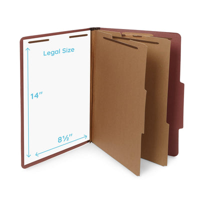 Classification Folders with 2 Dividers, Legal Size, Red, 10 Count