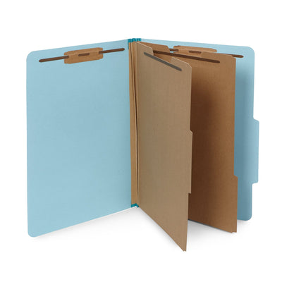 Classification Folders with 2 Dividers, Legal Size, Light Blue, 10 Count