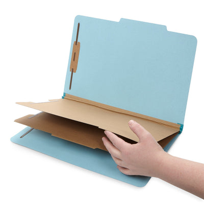 Classification Folders with 2 Dividers, Legal Size, Light Blue, 30 Count