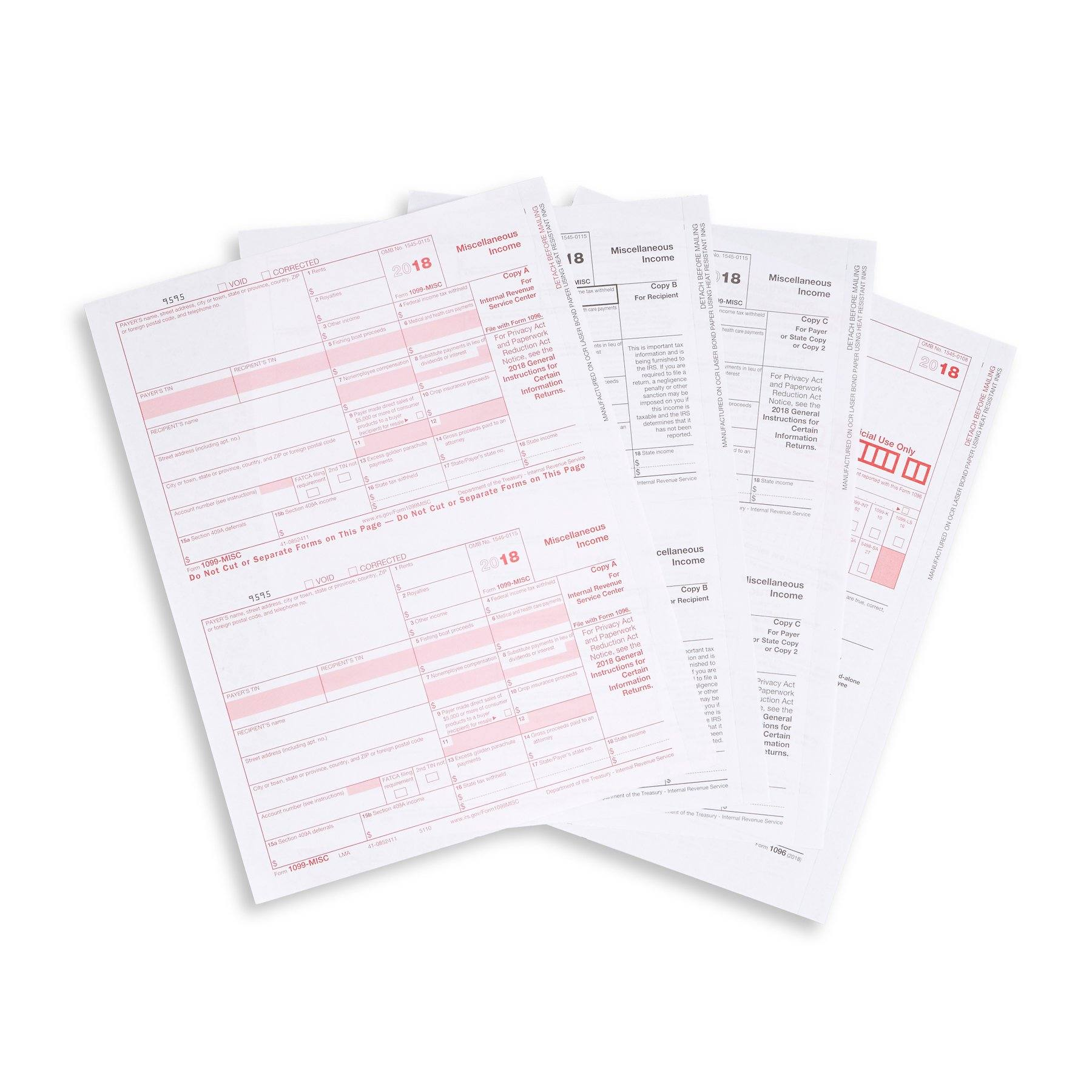 1099 MISC 5 Part 2018 Tax Forms Kit, 25 Count