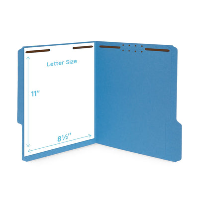 Fastener File Folders, Letter Size, Assorted Colors, 50 Pack