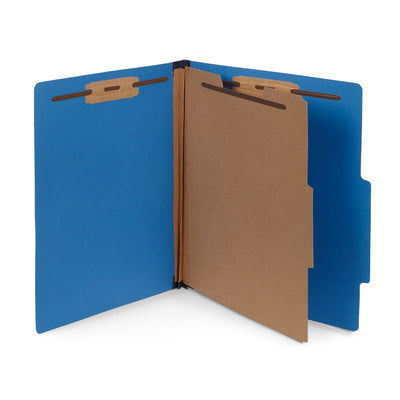Classification Folders with 1 Divider, Letter Size, Dark Blue, 30 Count Folders Blue Summit Supplies