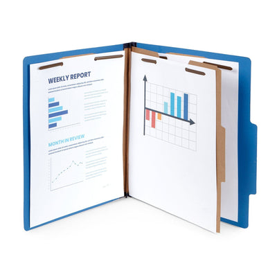 Classification Folders with 1 Divider, Letter Size, Dark Blue, 10 Count