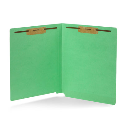 End Tab Fastener File Folders, Letter Size, Green, 50 Pack Folders Blue Summit Supplies