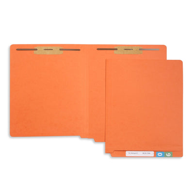 End Tab Fastener File Folders, Letter Size, Orange, 50 Pack Folders Blue Summit Supplies