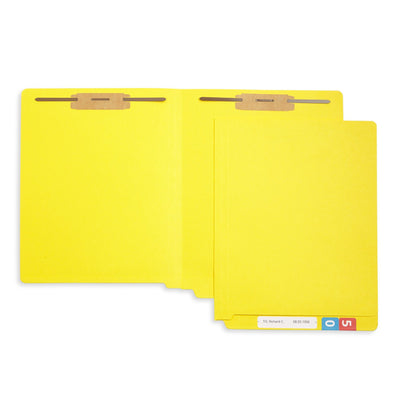 End Tab Fastener File Folders, Letter Size, Yellow, 50 Pack Folders Blue Summit Supplies