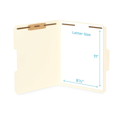 Fastener File Folders, Letter Size, Manila, 50 Pack Folders Blue Summit Supplies