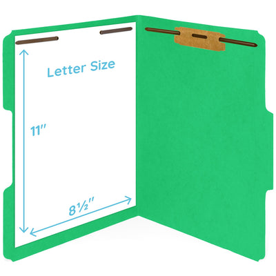 Fastener File Folders, Letter Size, Green, 50 Pack