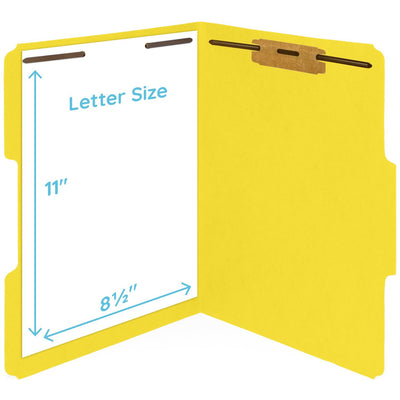 Fastener File Folders, Letter Size, Yellow, 50 Pack Folders Blue Summit Supplies