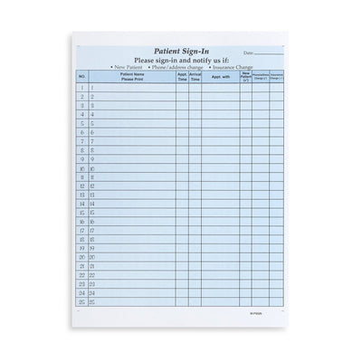 HIPAA Compliant Sign-In Sheets, Blue, 25 Count Business Forms Blue Summit Supplies