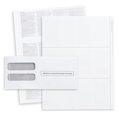 Blank 2019 W2 3-Up Tax Forms Bundle with Self Seal Envelopes, 50 Count Tax Forms Blue Summit Supplies