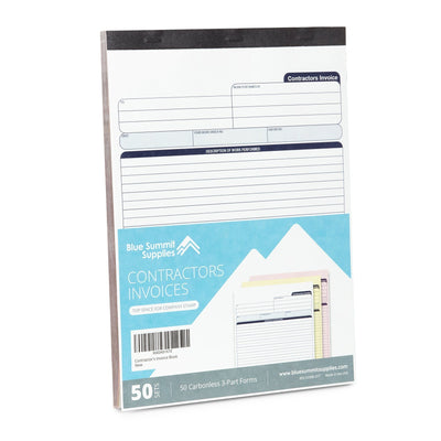 Contractors Invoice Book with 3-Part Carbonless Forms, 50 Sets Business Forms Blue Summit Supplies