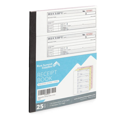 Receipt Book with 3-Part Carbonless Perforated Receipts, 5 Books