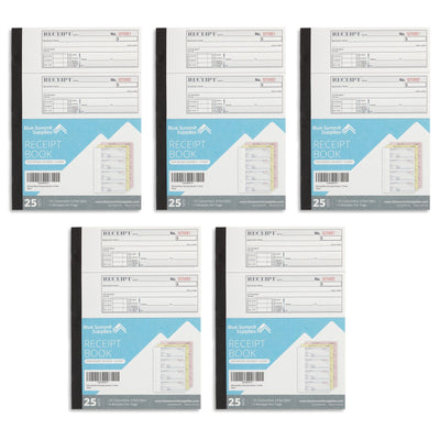 Receipt Books, 3-Part Carbonless, 5 Books Business Forms Blue Summit Supplies