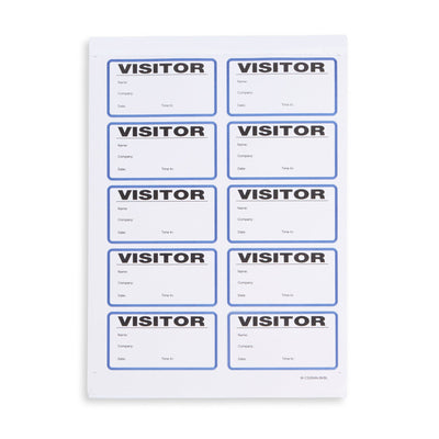 Visitor Badge Log Book, 250 Stickers Business Forms Blue Summit Supplies