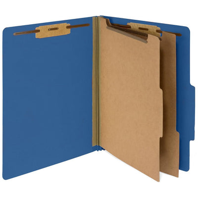 Classification Folders with 2 Dividers, Letter Size, Dark Blue, 10 Count