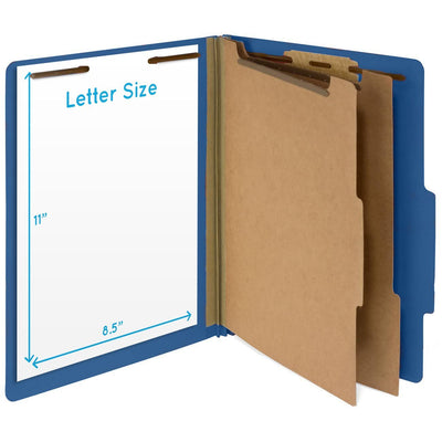 Classification Folders with 2 Dividers, Letter Size, Dark Blue, 30 Count Folders Blue Summit Supplies
