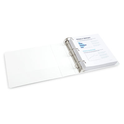 3'' 3-Ring Binders, White, 4 Pack binders Blue Summit Supplies