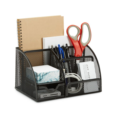 7 Compartment Desk Organizer, Metal Mesh Organizers Blue Summit Supplies
