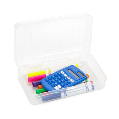 Clear Plastic Pencil Box, 4 Pack Pencil Boxes Blue Summit Supplies
