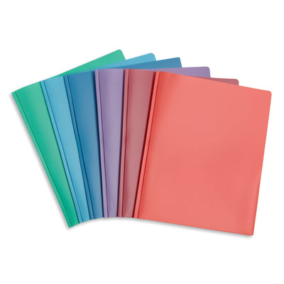Plastic Two-Pocket Folders with Prongs, Assorted Gem Tones, 6 Pack Folders Blue Summit Supplies