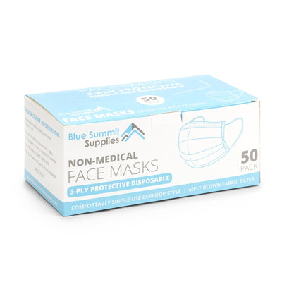 Disposable Face Masks, 50 Pack Face Masks Blue Summit Supplies
