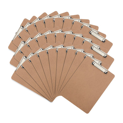 Hardboard Clipboards, Low Profile Clip, 30 Pack