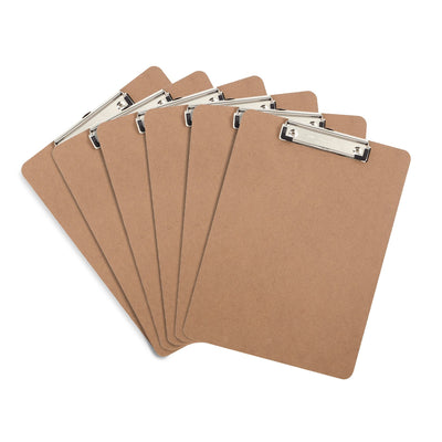 Hardboard Clipboards, Low Profile Clip, 6 Pack