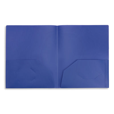 Plastic Two Pocket Folders, Assorted Colors, 6 Pack Folders Blue Summit Supplies