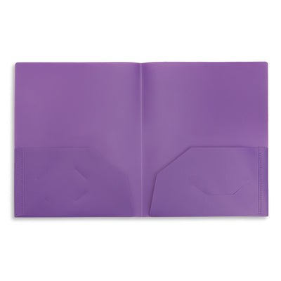 Plastic Two Pocket Folders, Assorted Colors, 30 Pack Folders Blue Summit Supplies