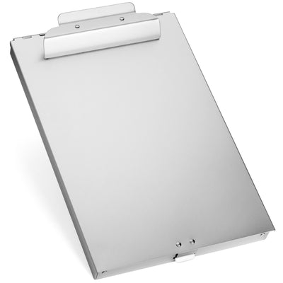 Aluminum Storage Clipboard, 1 Compartment, Large Clip Clipboards Blue Summit Supplies