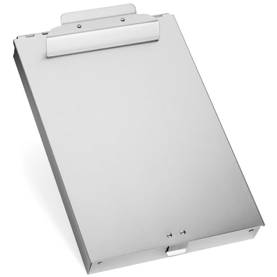 Aluminum Storage Clipboard, 2 Compartments, Large Clip Clipboards Blue Summit Supplies