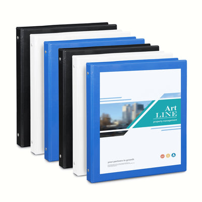 "1"" 3-Ring Binders, Assorted Colors, 6 Pack"