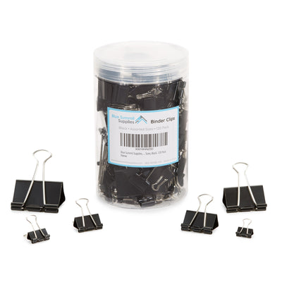 Binder Clips, Assorted Sizes, Black, 120 Pack