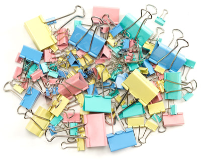 Binder Clips, Assorted Sizes, Assorted Colors, 120 Pack Accessories Blue Summit Supplies