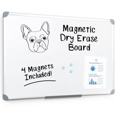 "Magnetic Whiteboard with Aluminum Frame, 24"" x 36"" WhiteBoard Blue Summit Supplies"